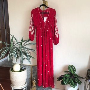 FREE PEOPLE EMBROIDERED WIDE LEG JUMPSUIT SIZE XS